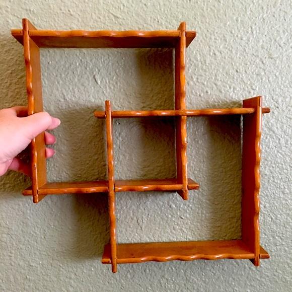 Vtg Wood Trinket Shelf Mid Mod